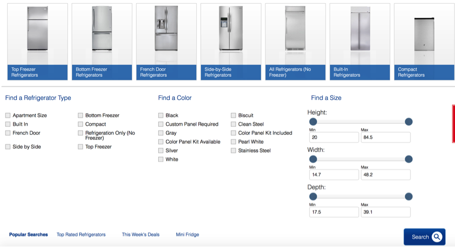 Appliance specifications